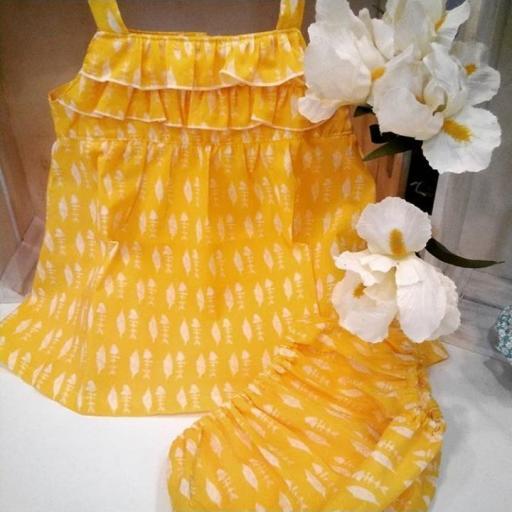 Conjunto Vestido + Cueltin coleccion Pez