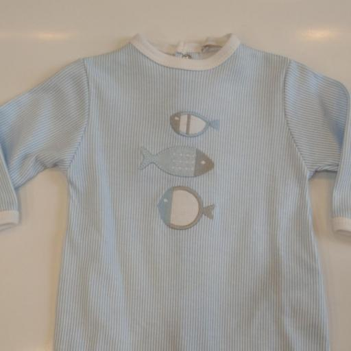 Pijama bebé peces celeste