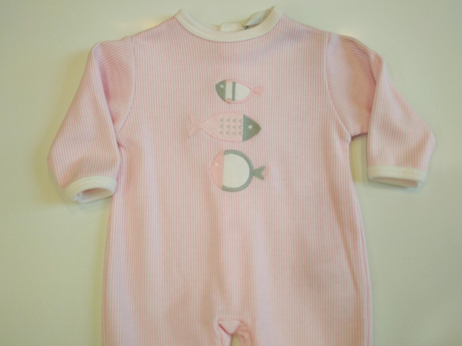 Pijama bebé peces rosa