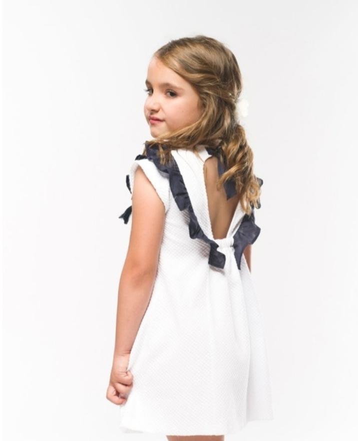 Vestido piqué blanco y azul marino Coco Acqua