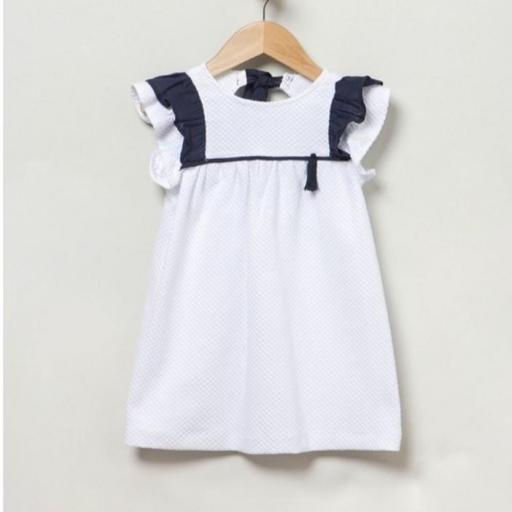 Vestido piqué blanco y azul marino Coco Acqua [1]