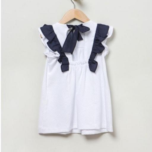 Vestido piqué blanco y azul marino Coco Acqua [2]