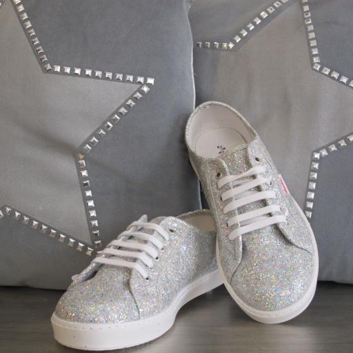 Zapatillas glitter plata