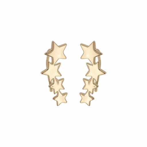 Pendiente chapado trepador estrellas Bilyfer [2]