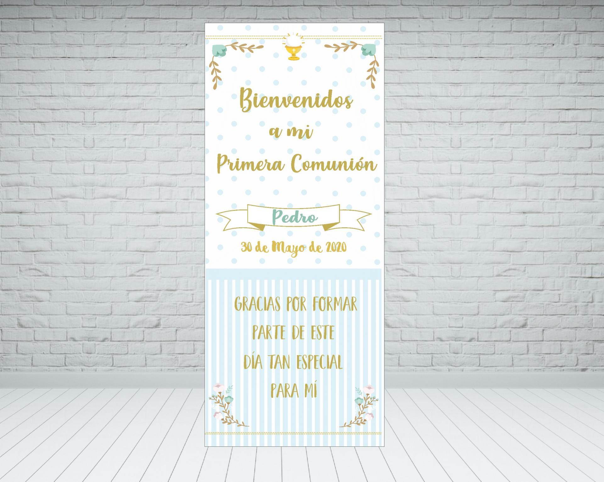 Cartel Bienvenida Comunión elegante