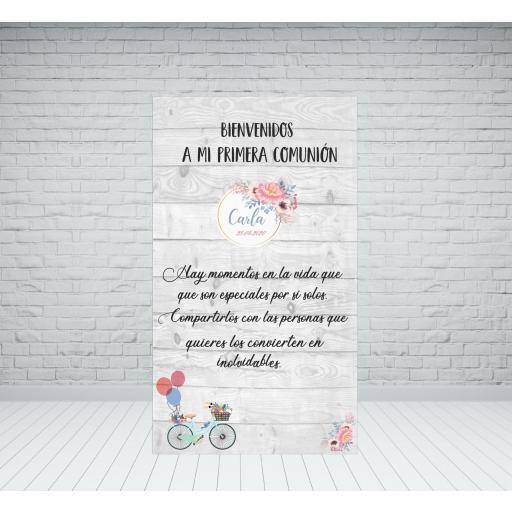 Cartel Bienvenida Comunión bici