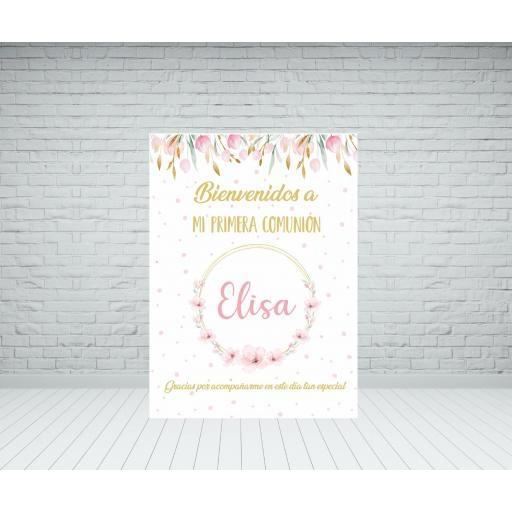 Cartel bienvenida Comunión flores románticas