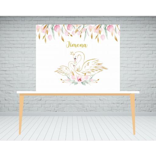 Fondo de mesa dulce cisnes