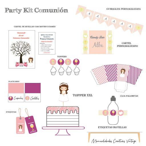 Party Kit digital Comunión niña