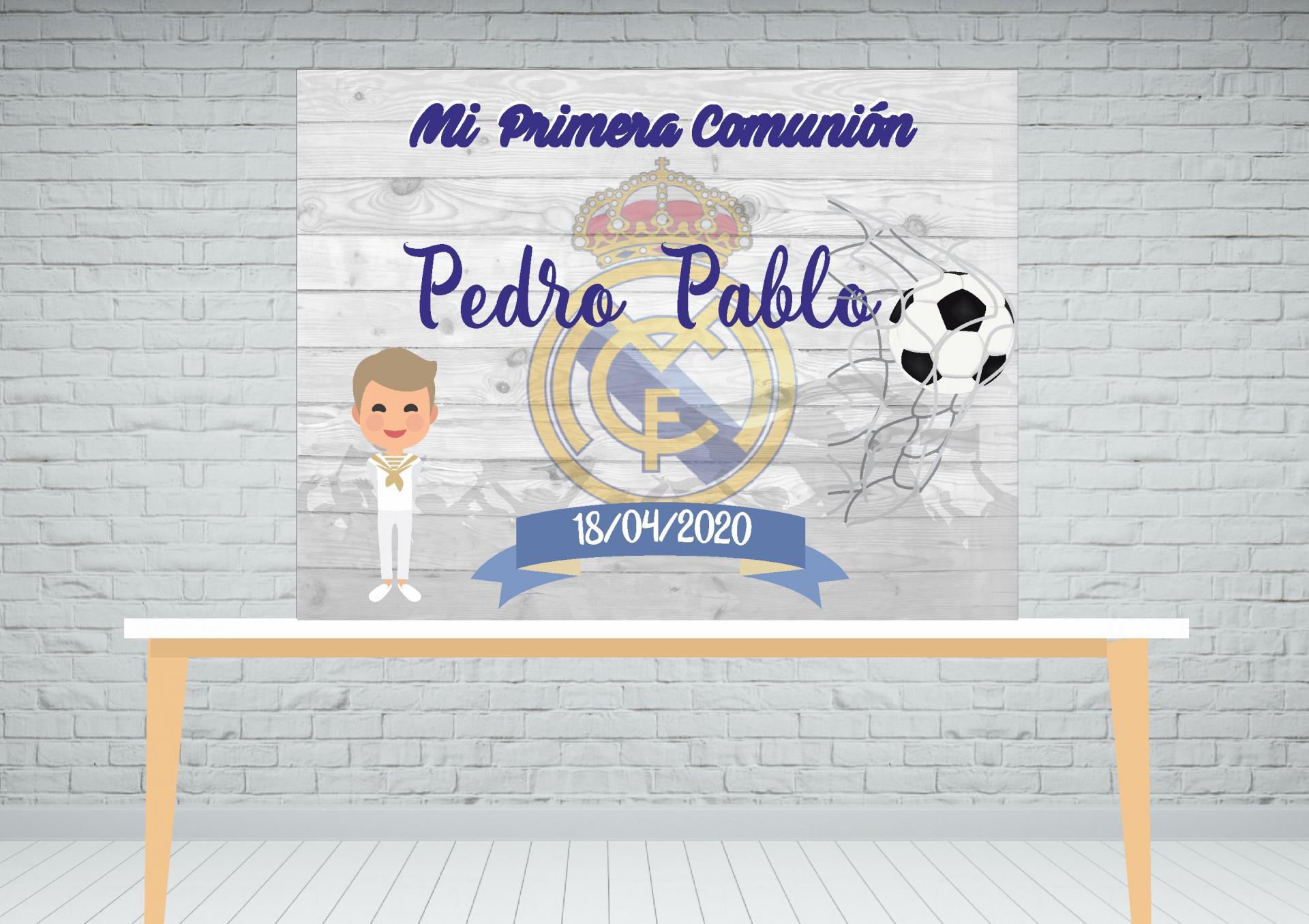 Fondo de mesa dulce comunión fútbol