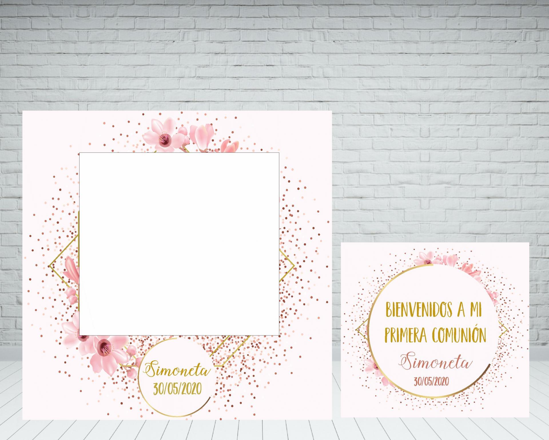 photocall-comunión-rosa-y-dorado