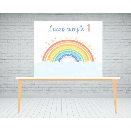 Fondo de mesa o photocall arcoiris