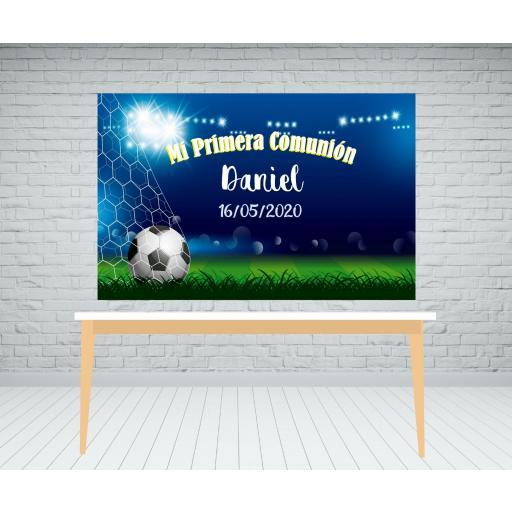 Fondo de mesa dulce estadio futbol Comunión