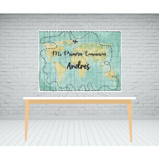 Photocall comunión mapa mundi