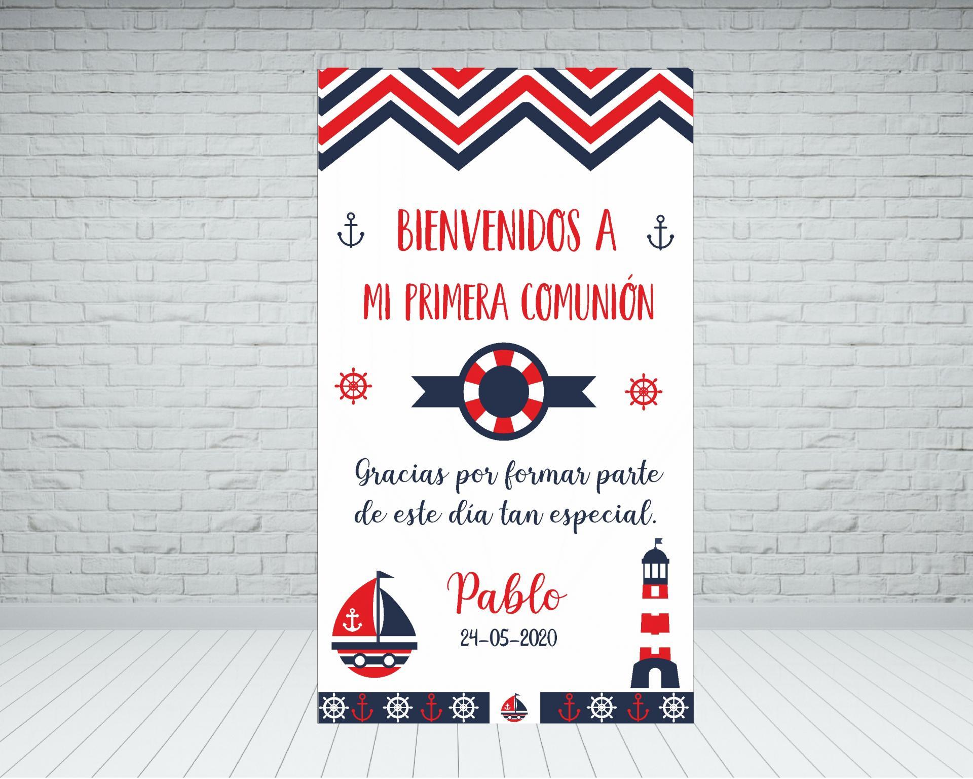 Cartel bienvenida Comunión marinero