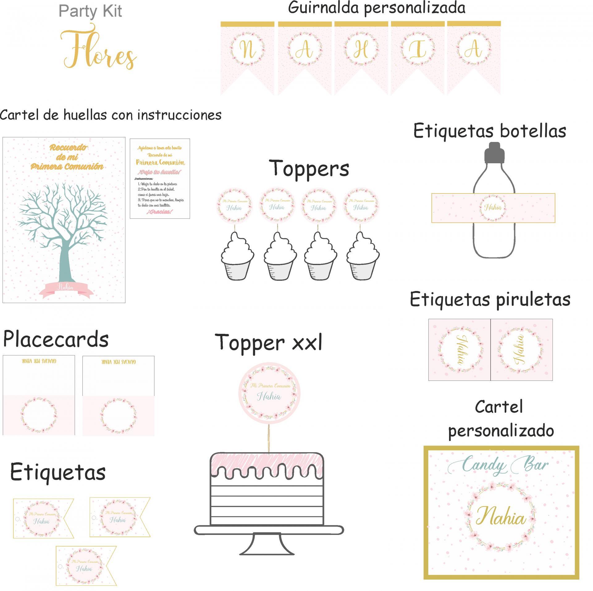Party kit digital flores románticas