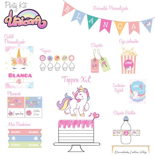 Party Kit digital Unicornio