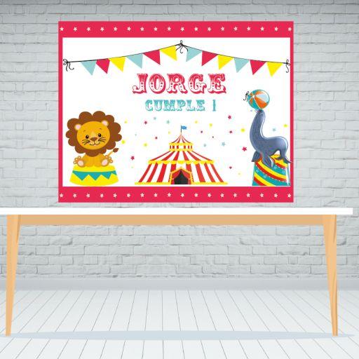 Fondo de mesa dulce circo infantil