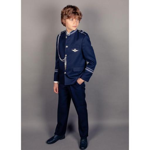 Traje de Comunión 2022 Almirante cuello mao con chaleco rayas [1]