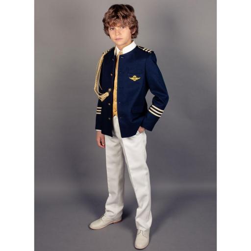 Traje de Comunión 2022 Almirante cuello mao contraste chaqueta marino [0]