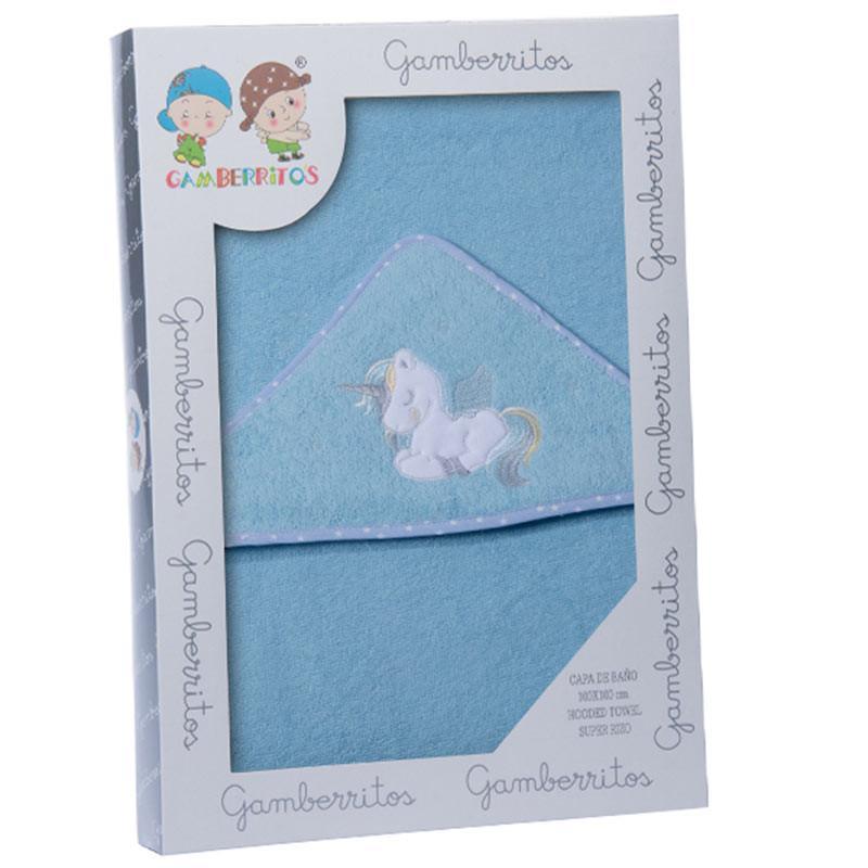 Capa de baño GAMBERRITOS unicornio azul