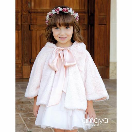 Capa para niña de AMAYA ceremonia pelo rosa