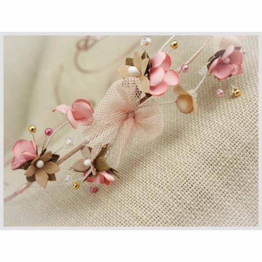 Corona para Comunión y Ceremonia ZOYSAN flores rosa 20290 [1]