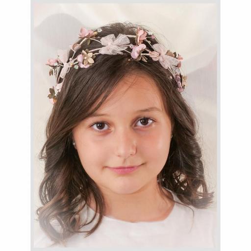 Corona para Comunión y Ceremonia ZOYSAN flores rosa 20290