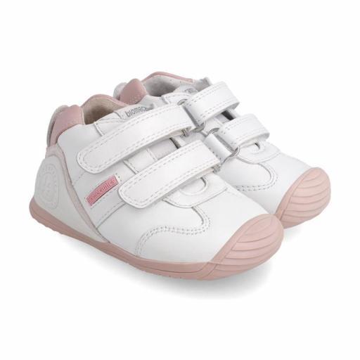Deportiva de bebe BIOMECANICS piel blanco con rosa