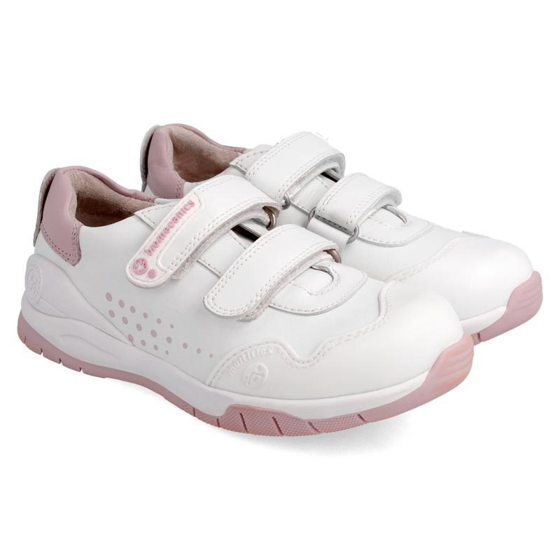 Deportiva de piel BIOMECANICS en blanco-rosa