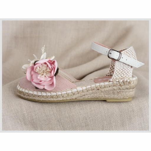 Zapato de Comunión ZOYSAN esparteña lisa velour rosa con flor [2]