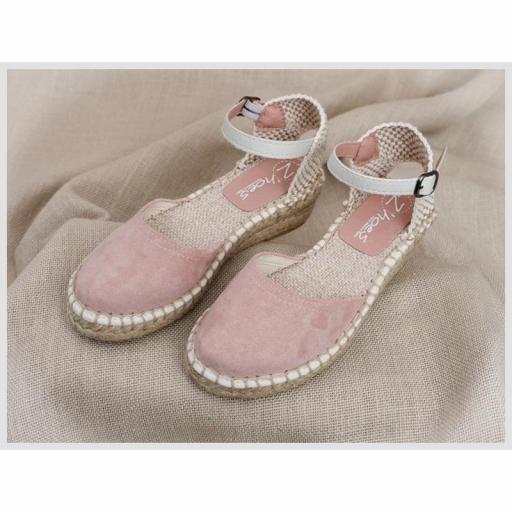 Zapato de Comunión ZOYSAN esparteña lisa velour rosa