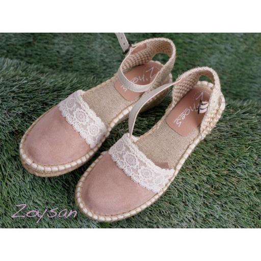 Zapato de Comunión ZOYSAN esparteña lisa rosa palo