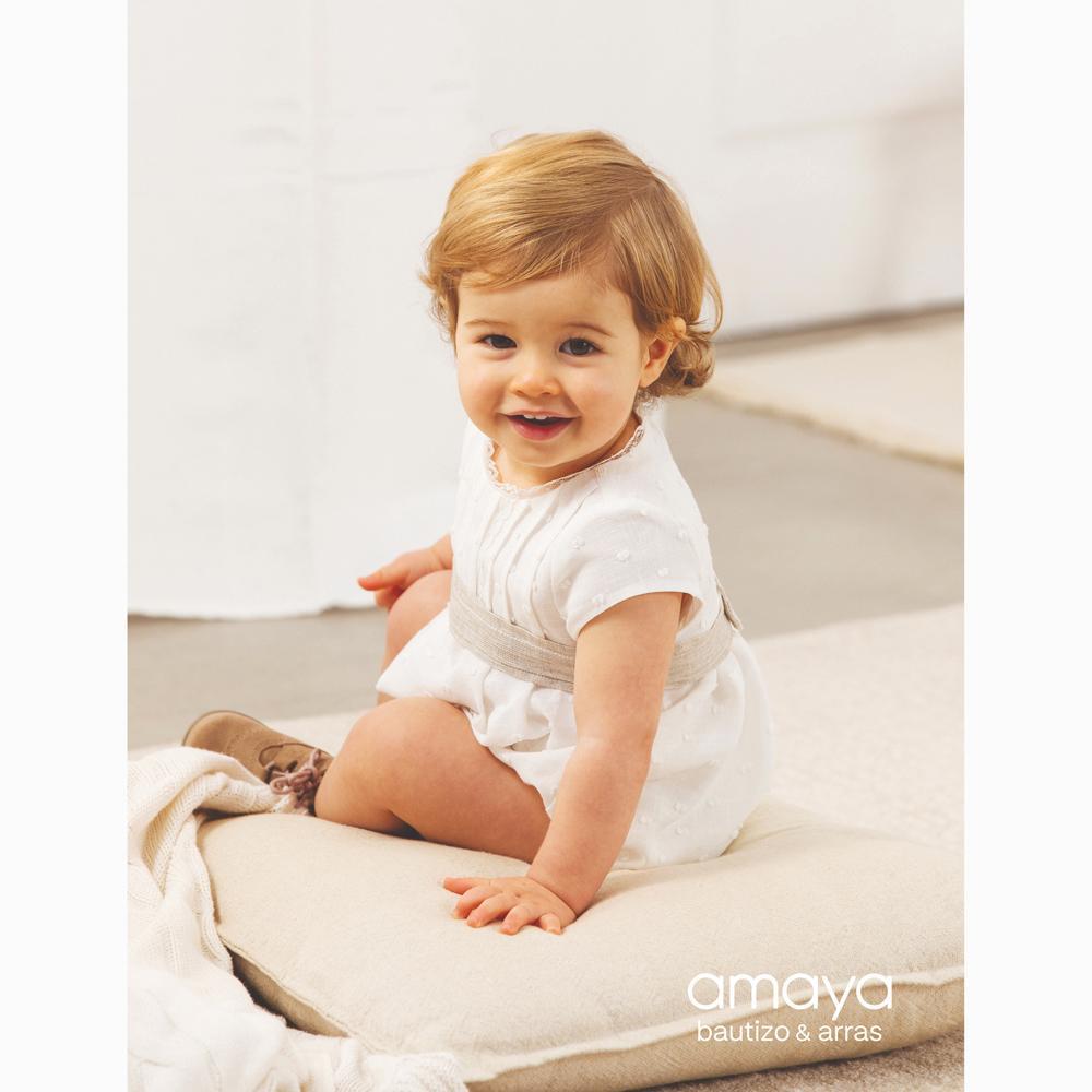 Pelele bautizo bebe niño AMAYA lino 532090