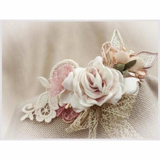 Tocado Prendido Comunión y Ceremonia ZOYSAN flores rosa 12578 [1]
