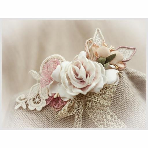 Tocado Prendido Comunión y Ceremonia ZOYSAN flores rosa 12578