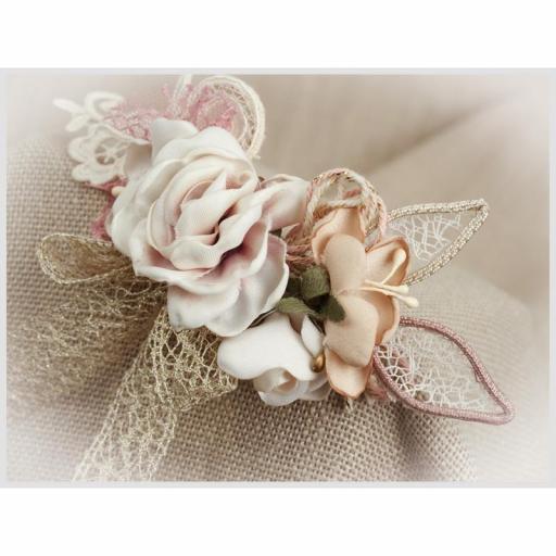 Tocado Prendido Comunión y Ceremonia ZOYSAN flores rosa 12578 [2]