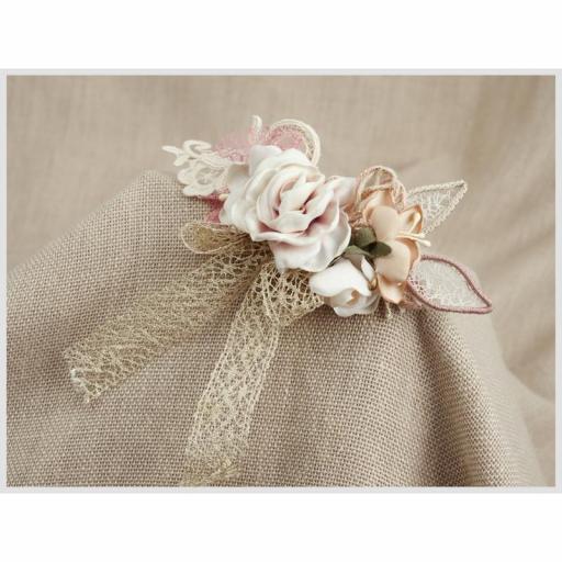 Tocado Prendido Comunión y Ceremonia ZOYSAN flores rosa 12578 [3]
