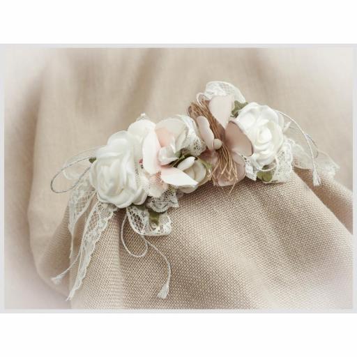 Tocado Prendido Comunión y Ceremonia ZOYSAN flores crudo 12580 [3]