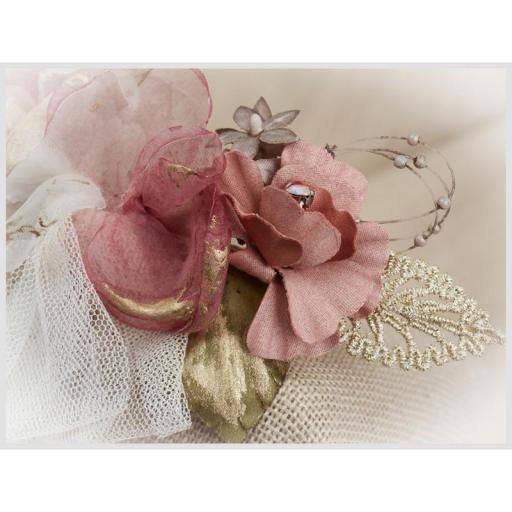 Tocado Prendido Comunión y Ceremonia ZOYSAN flores rosa12642 [1]