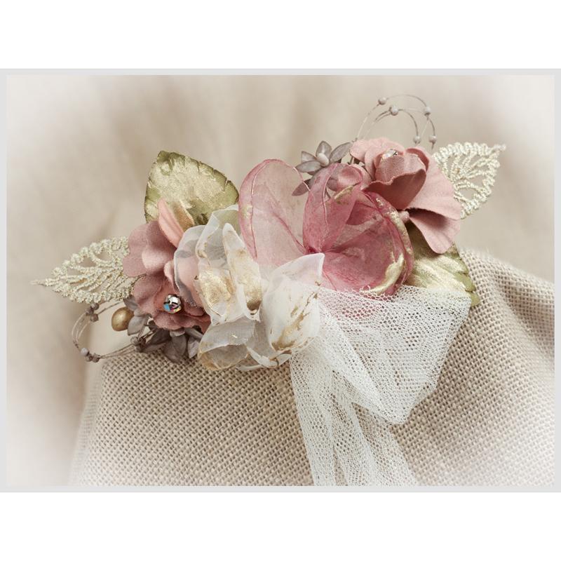 Tocado Prendido Comunión y Ceremonia ZOYSAN flores rosa12642
