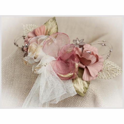 Tocado Prendido Comunión y Ceremonia ZOYSAN flores rosa12642 [2]