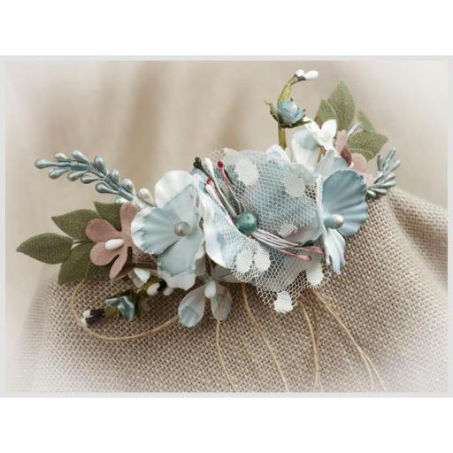 Tocado Prendido Comunión y Ceremonia ZOYSAN flores azul 12648