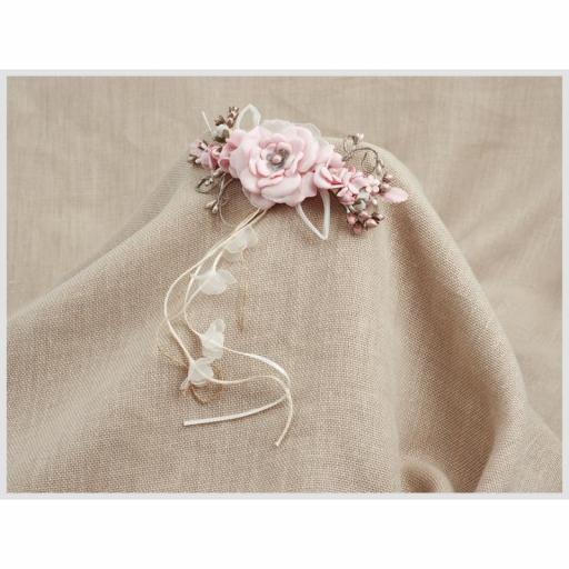 Tocado Prendido Comunión y Ceremonia ZOYSAN flores rosa 12670 [2]