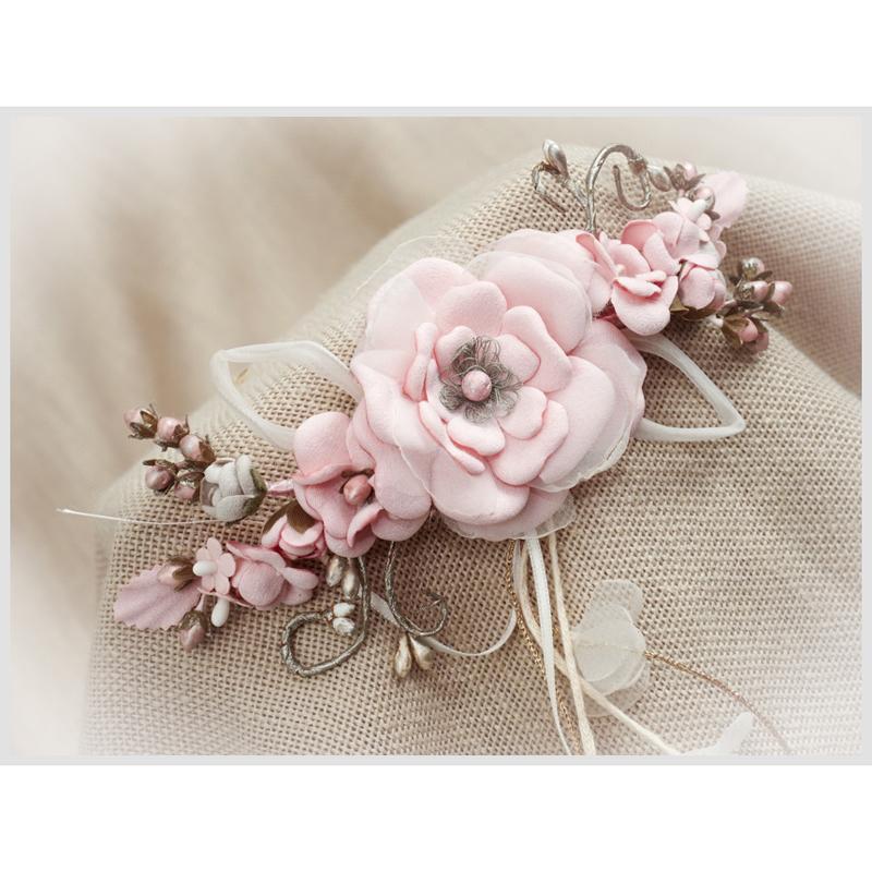 Tocado Prendido Comunión y Ceremonia ZOYSAN flores rosa 12670