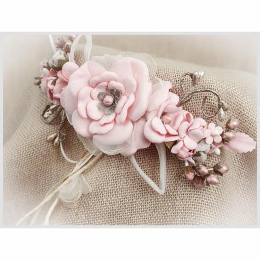 Tocado Prendido Comunión y Ceremonia ZOYSAN flores rosa 12670 [1]