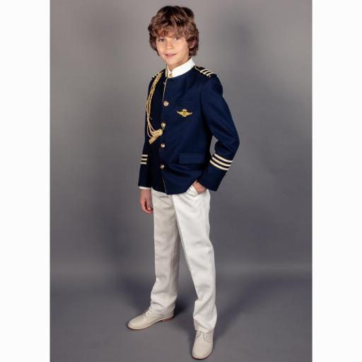 Traje de Comunión 2022 Almirante cuello mao contraste chaqueta marino [1]