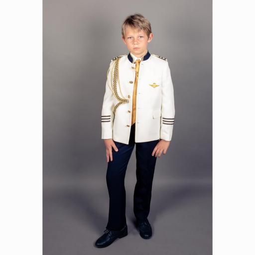 Traje de Comunión 2022 Almirante cuello mao contraste chaqueta crudo
