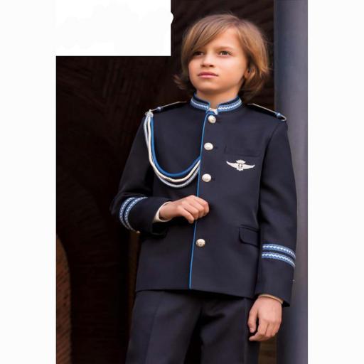 Traje de Comunión Almirante 2022 cuello mao con vivo chaleco azulón