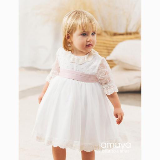Vestido de bebe Ceremonia AMAYA 2021 manga francesa tul modelo 512014MF